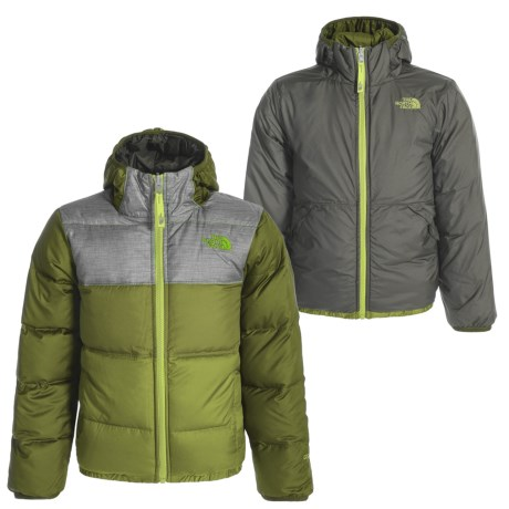 The North Face Moondoggy Hooded Down Jacket - Reversible, 550 Fill Power (For Little and Big Boys) in Terrarium Green
