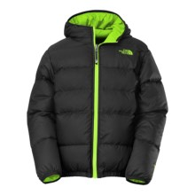The North Face Moondoggy Hooded Down Jacket - Reversible, 550 Fill Power (For Little and Big Boys) in Tnf Black - Closeouts