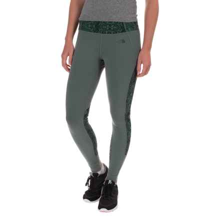 The North Face Motivation Leggings - Color-Block Printed (For Women) in Balsam Green/Balsame Green Ink Spell Print - Closeouts
