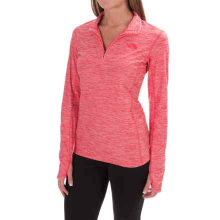 The North Face Motivation Shirt - Zip Neck, Long Sleeve (For Women) in Melon Red Heather - Closeouts