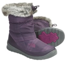 The North Face Nuptse Bootie Faux-Fur IV Winter Boots - Insulated (For Women) in Baroque Purple Plaid/Graphite Grey - Closeouts