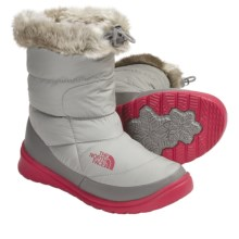 The North Face Nuptse Bootie Faux-Fur IV Winter Boots - Insulated (For Women) in Moon Mist Grey/Barberry Pink - Closeouts
