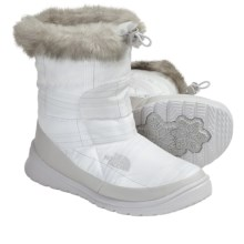 The North Face Nuptse Bootie Faux-Fur IV Winter Boots - Insulated (For Women) in Tnf White Plaid/Tnf White - Closeouts
