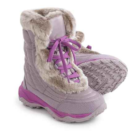 The North Face Nuptse Faux-Fur II Down Snow Boots - Insulated (For Little and Big Girls) in Quail Grey/Wisteria Purple - Closeouts