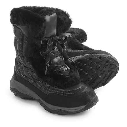 The North Face Nuptse Faux-Fur II Down Snow Boots - Insulated (For Little and Big Girls) in Shiny Black/Black - Closeouts