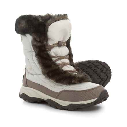 The North Face Nuptse Faux-Fur II Down Snow Boots - Insulated (For Little and Big Girls) in Shiny Moonlight Ivory/Classic - Closeouts