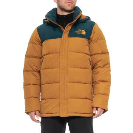 The North Face Nuptse Ridge Hooded Down Parka - 700 Fill Power (For Men) in Goldenbn/Kodkbl - Closeouts