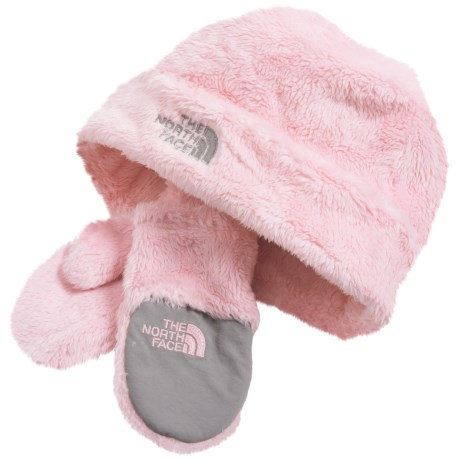 The North Face Oso Cute Knit Beanie and Mittens Set (For Infants) in Coy Pink