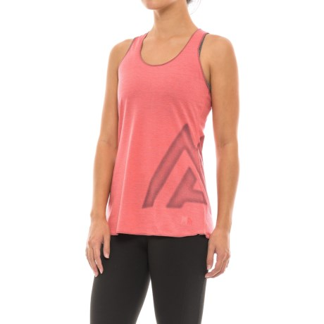 The North Face Play Hard Graphic Tank Top - Racerback (For Women) in Calypso Coral Heather