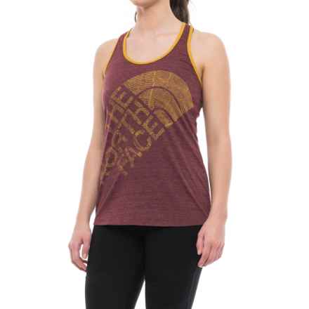 The North Face Play Hard Graphic Tank Top - Racerback (For Women) in Deep Garnet Red Heather - Closeouts