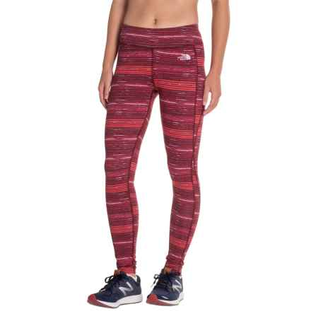 The North Face Pulse Tights (For Women) in Deep Garnet Ruby Sketch Print - Closeouts