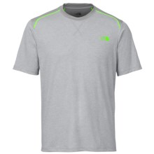 The North Face Reactor Crew Shirt - Short Sleeve (For Men) in Monument Grey Heather/Power Green - Closeouts