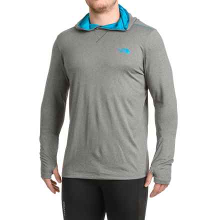 The North Face Reactor Hooded Shirt - Long Sleeve (For Men) in Medium Grey Heather/Blue - Closeouts