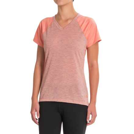The North Face Reactor V-Neck Shirt - Short Sleeve (For Women) in Burnt Coral - Closeouts