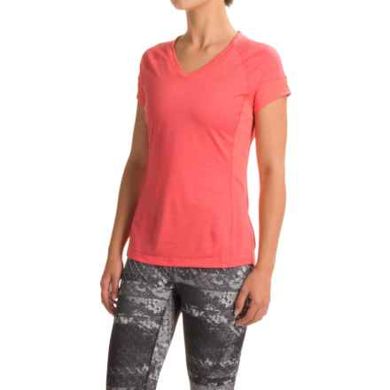 The North Face Reactor V-Neck Shirt - Short Sleeve (For Women) in Calypso Coral Heather/Calypso Coral - Closeouts