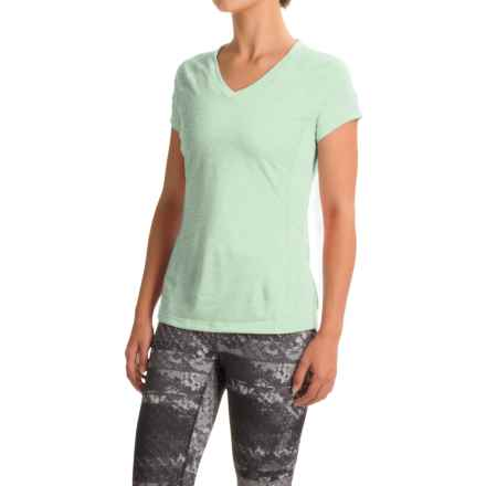 The North Face Reactor V-Neck Shirt - Short Sleeve (For Women) in Subtle Green Heather/Subtle Green - Closeouts