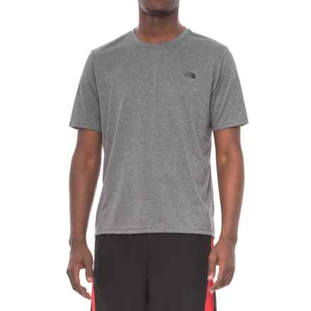 The North Face Reaxion Amp Crew Shirt - Short Sleeve (For Men) in Tnf Mid Grey Heather/Asphalt Heather Grey - Closeouts