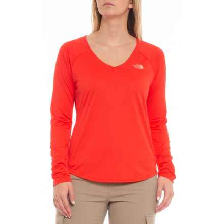 The North Face Reaxion Amp T-Shirt - Long Sleeve (For Women) in Juicy Red/Desert Floral - Closeouts