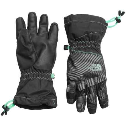 The North Face Revelstoke Etip Ski Gloves - Waterproof, Insulated, Touch-Screen Compatible (For Little and Big Kids) in Graphite Grey/Ice Green - Closeouts