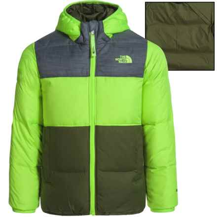 The North Face Reversible Moondoggy Down Jacket - 550 Fill Power (For Toddler Boys) in Safety Green - Closeouts