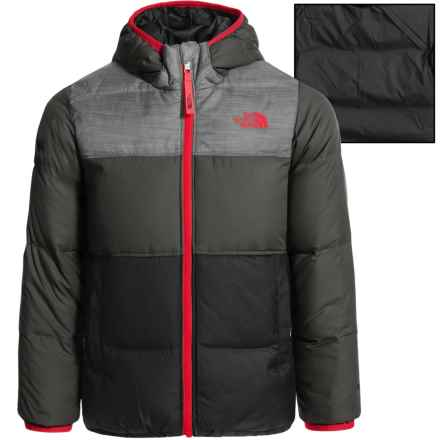 The North Face Reversible Moondoggy Down Jacket - 550 Fill Power (For Toddler Boys) in Tnf Medium Grey Heather - Closeouts