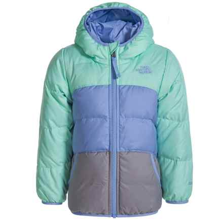 The North Face Reversible Moondoggy Down Jacket - 550 Fill Power (For Toddler Girls) in Ice Green Heather - Closeouts
