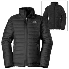 The North Face Reversible Mossbud Swirl Jacket - Insulated, Fleece Lined (For Little and Big Girls) in Black - Closeouts