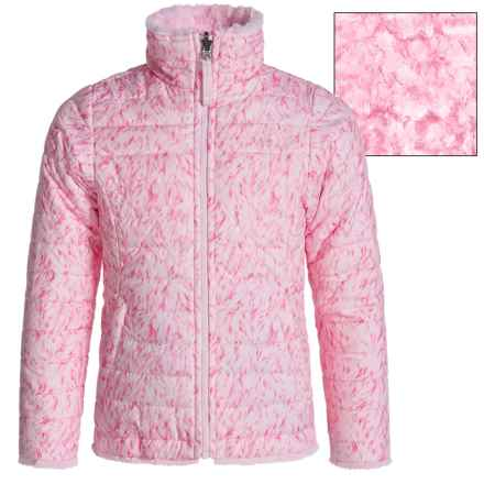 The North Face Reversible Mossbud Swirl Jacket - Insulated, Fleece Lined (For Little and Big Girls) in Coy Pink Fur Print - Closeouts