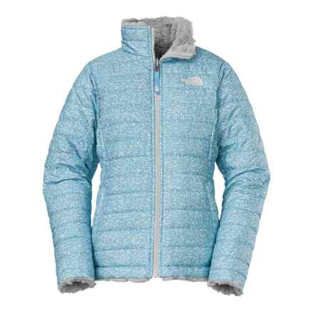 The North Face Reversible Mossbud Swirl Jacket - Insulated, Fleece Lined (For Little and Big Girls) in Fortuna Blue Scatter Print - Closeouts