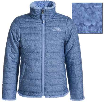 The North Face Reversible Mossbud Swirl Jacket - Insulated, Fleece Lined (For Little and Big Girls) in Grapemist Blue Denim Print - Closeouts