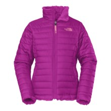 The North Face Reversible Mossbud Swirl Jacket - Insulated, Fleece Lined (For Little and Big Girls) in Luminous Pink - Closeouts