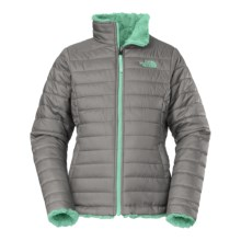 The North Face Reversible Mossbud Swirl Jacket - Insulated, Fleece Lined (For Little and Big Girls) in Metallic Silver - Closeouts