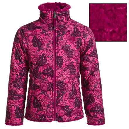The North Face Reversible Mossbud Swirl Jacket - Insulated, Fleece Lined (For Little and Big Girls) in Roxbury Pink Butterfly Camo - Closeouts