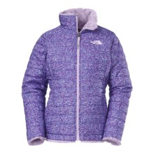 The North Face Reversible Mossbud Swirl Jacket - Insulated, Fleece Lined (For Little and Big Girls) in Starry Purple Scatter Print - Closeouts
