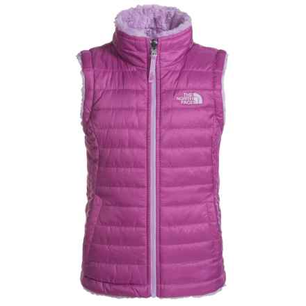 The North Face Reversible Mossbud Swirl Vest - Insulated (For Little and Big Girls) in Wisteria Purple - Closeouts