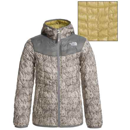 The North Face Reversible ThermoBall® Hoodie (For Little and Big Girls) in Doeskin Brown Fur Print - Closeouts