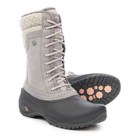 The North Face Shellista 2 Mid Pac Boots - Waterproof, Insulated, Nubuck (For Women) in Frost Grey/Evening Sand Pink - Closeouts