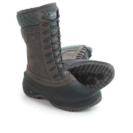 The North Face Shellista 2 Mid Pac Boots - Waterproof, Insulated, Nubuck (For Women) in Plum Kitten Grey/Phantom Grey - Closeouts