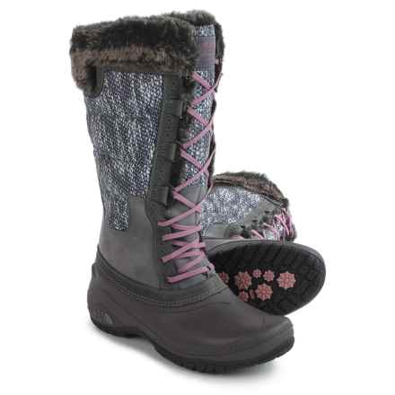 The North Face Shellista 2 Tall Pac Boots - Waterproof, Insulated (For Women) in Smoked Pearl Grey/Nostalgia Rose - Closeouts
