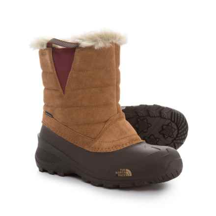 The North Face Shellista Pull-On III Pac Boots - Waterproof, Insulated (For Little and Big Girls) in Tagumi Brown/Barolo Red - Closeouts