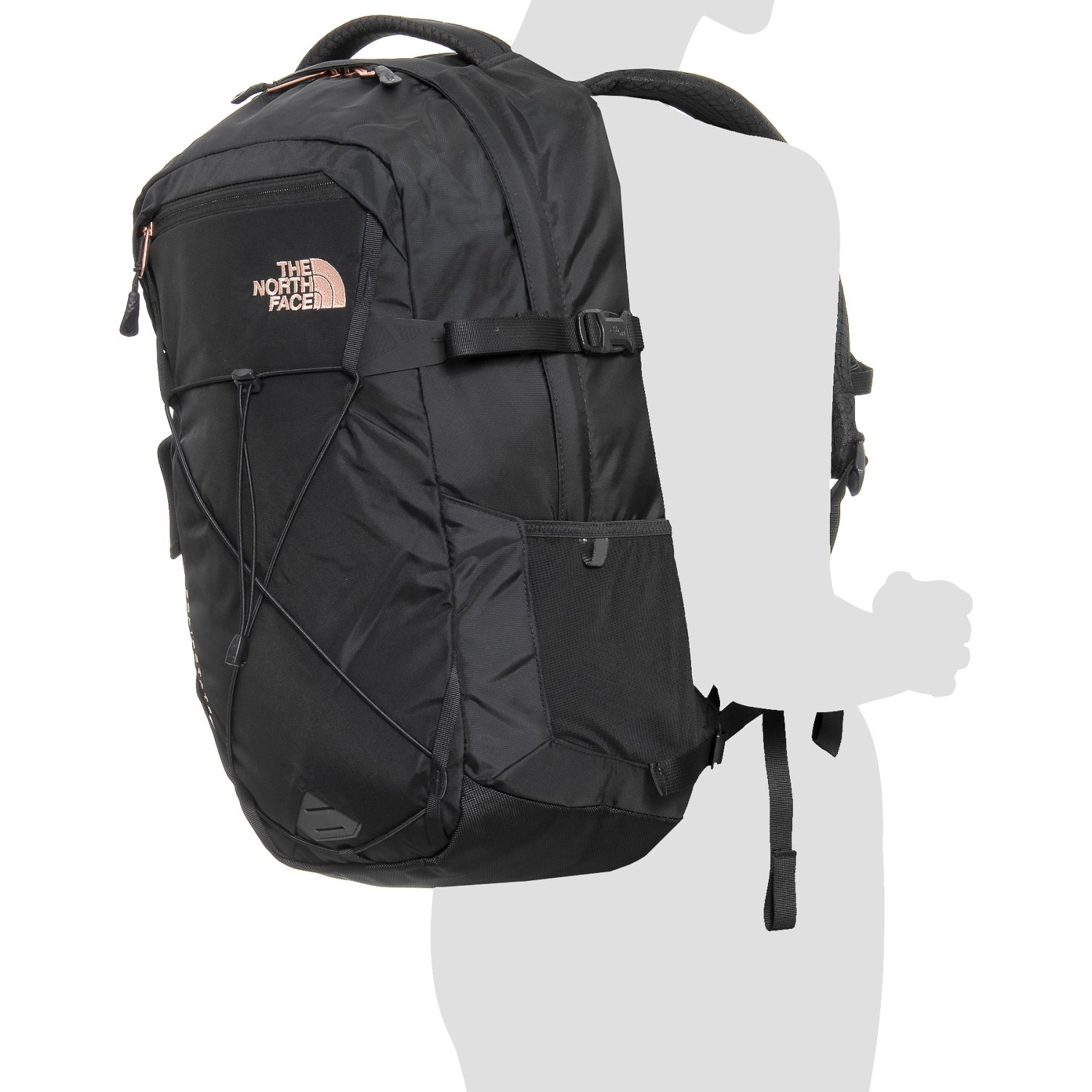 c1d4c1fd0 North Face Black Backpack With Rose Gold Zippers - CEAGESP