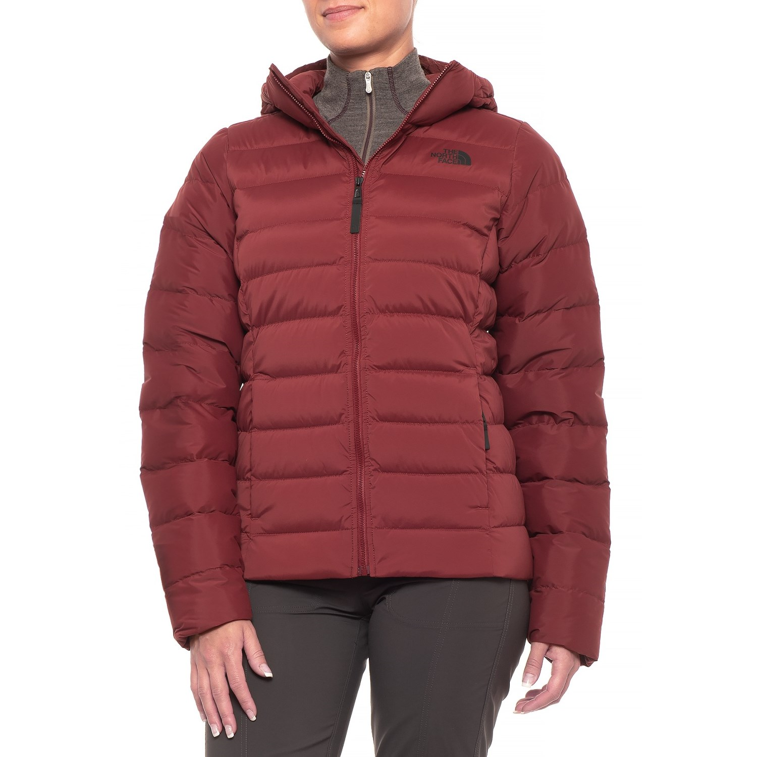 21967c01534a The North Face Stretch Down Hooded Jacket (For Women) in Barolo Red ...