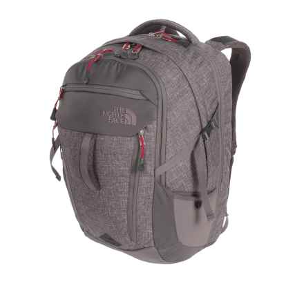 The North Face Surge Backpack (For Women) in Rabbit Grey Heather/Cerise Pink - Closeouts