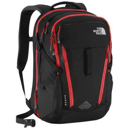 The North Face Surge Backpack in Tnf Black/Popeian Red - Closeouts