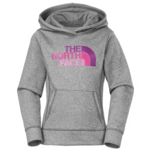 The North Face Surgent Fleece Logo Hoodie (For Little and Big Girls) in Heather Grey/Gem Pink - Closeouts
