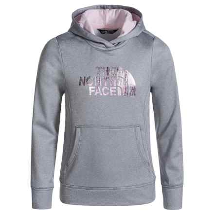 The North Face Surgent Fleece Logo Hoodie (For Little and Big Girls) in Tnf Light Grey Heather - Closeouts