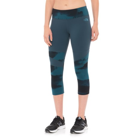 The North Face Tadasana Capris (For Women) in Ink Blue Forest Fog Print