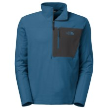 The North Face Tech 100 Fleece Pullover Shirt - Zip Neck, Long Sleeve (For Men) in Dish Blue/Asphalt Grey - Closeouts