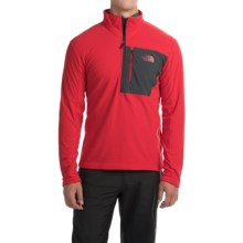 The North Face Tech 100 Fleece Pullover Shirt - Zip Neck, Long Sleeve (For Men) in Tnf Red/Asphalt Grey - Closeouts