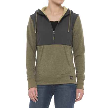 The North Face Tech Sherpa Hoodie - Zip Neck (For Women) in Burnt Olive Green Heather - Closeouts